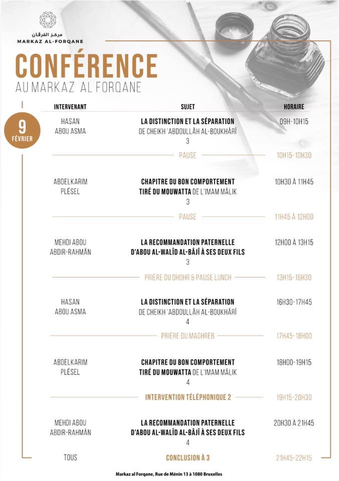 Horaires des conférences par intervenant pour le 09 janvier 2020